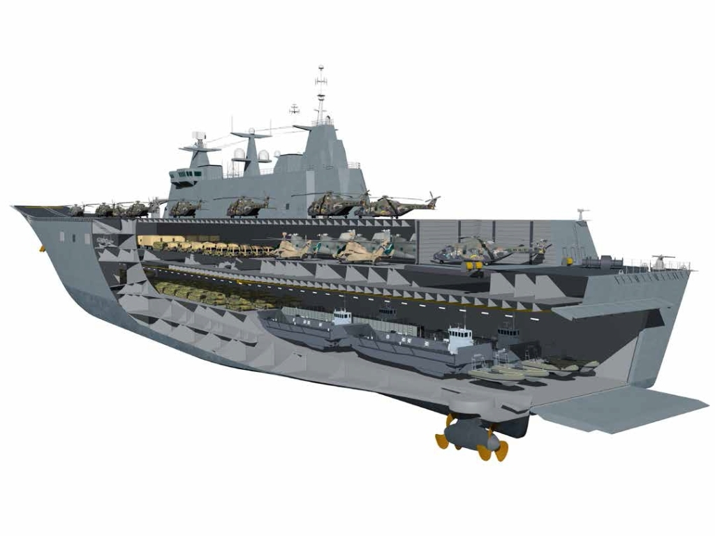 These 27,000-tonne ships will be able to land a force of over 1,000 personnel by helicopter and watercraft, along with all their weapons, ammunition, vehicles and stores