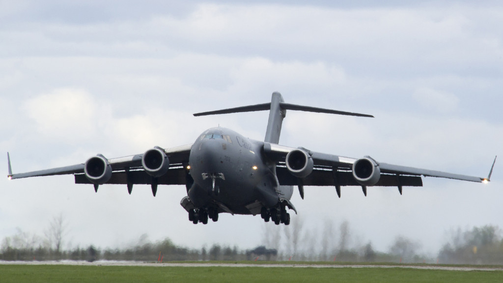 The CC-177 Globemaster performs touch and goes at Mountain View.On 25 April 2012, at 8 Wing Trenton, Ontario, 429 Squadron validated techniques, aircraft systems and training while performing the first Canadian Heavy Equipment Drop from a CC-177, Globemaster