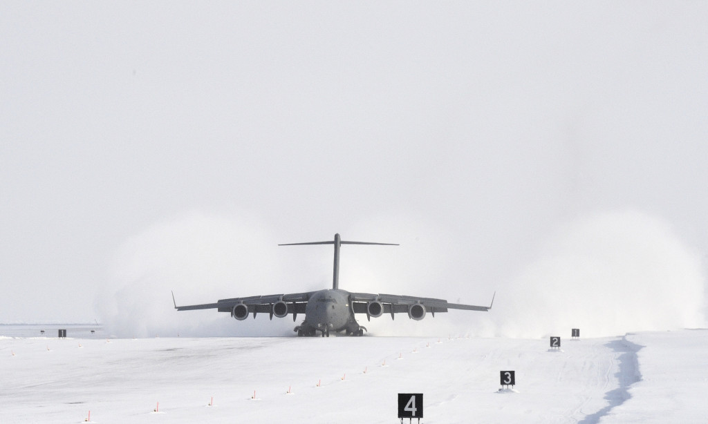 The C-177 Globmaster III carrying re-supplies lands at Canadian Forces Station (CFS) Alert in support of Operation Boxtop