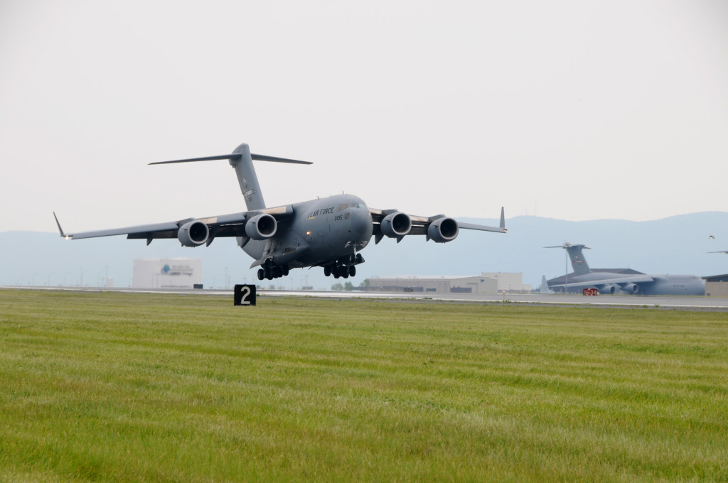 The first C-17 Globemaster III assigned to the 105th Airlift Wing arrives at Stewart International Airport on July 18, 2011. (U.S. Air Force Photo by Tech. Sgt. Michael R. OHalloran)
