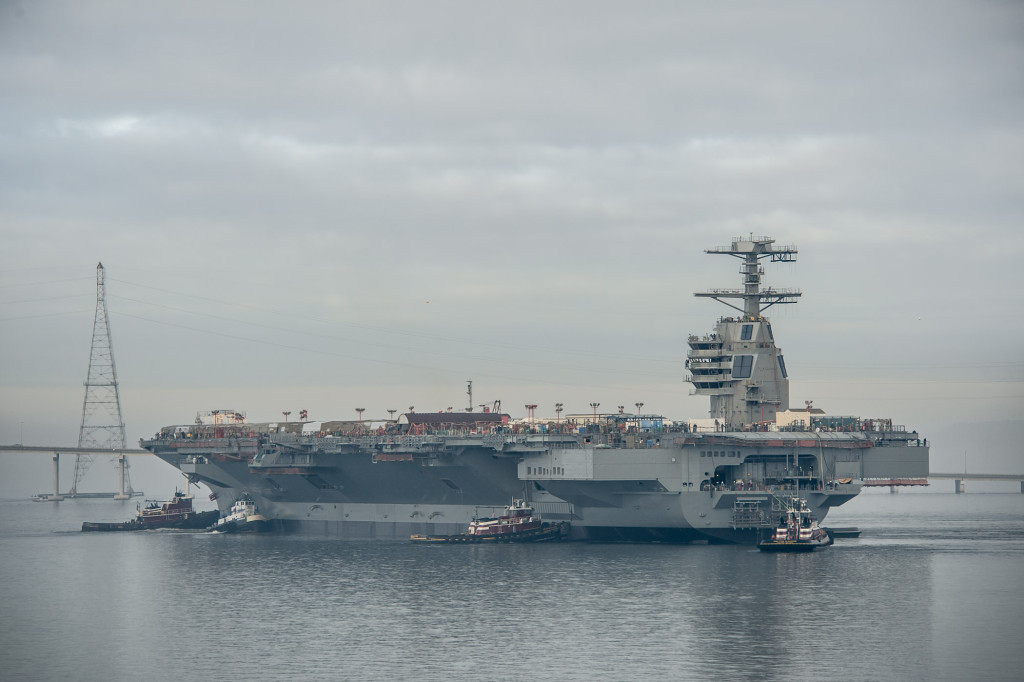 The aircraft carrier Gerald R. Ford (CVN-78) was moved Sunday, November 17, 2013, to Newport News Shipbuilding's Pier 3, where it will undergo additional outfitting and testing for the next 28 months. Photo by Chris Oxley