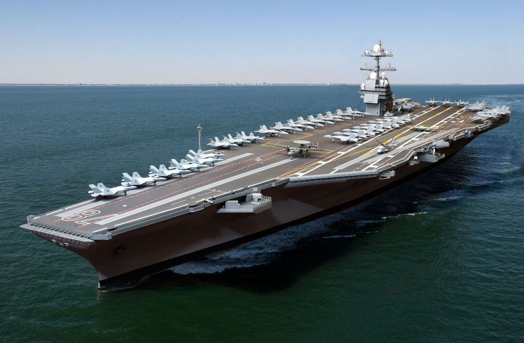 The aircraft carrier USS Gerald R. Ford CVN-78, is represented here in a combination model and live shot digital photo illustration