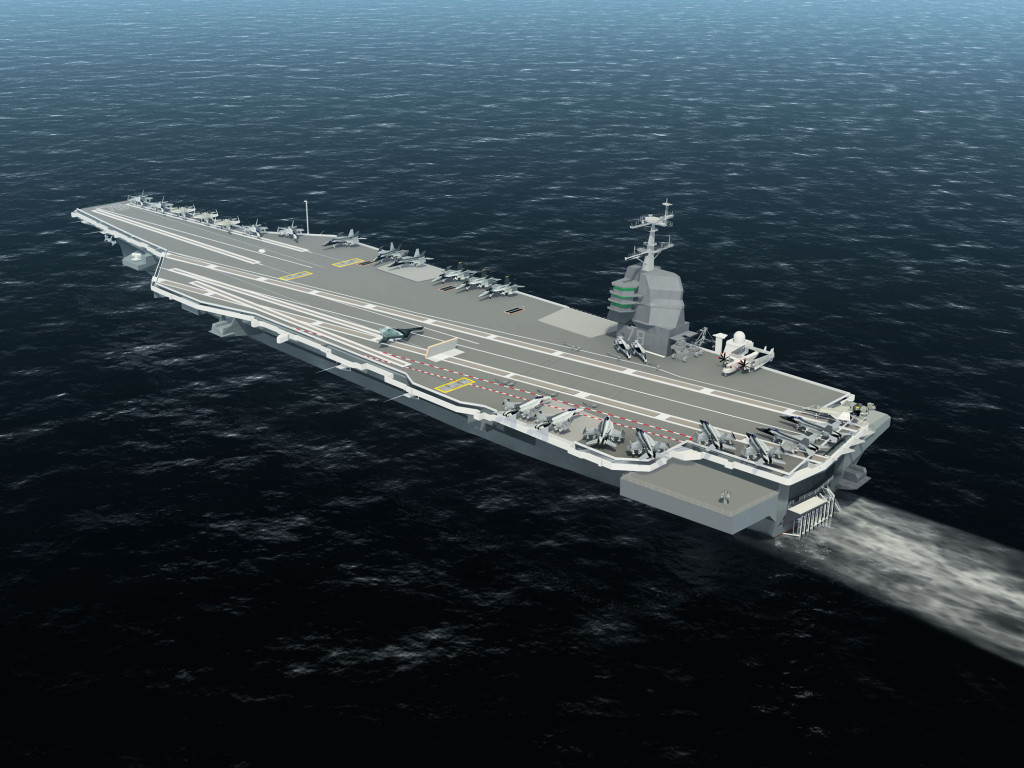 A computer animated image of the aircraft carrier USS Gerald R. Ford (CVN-78) at sea