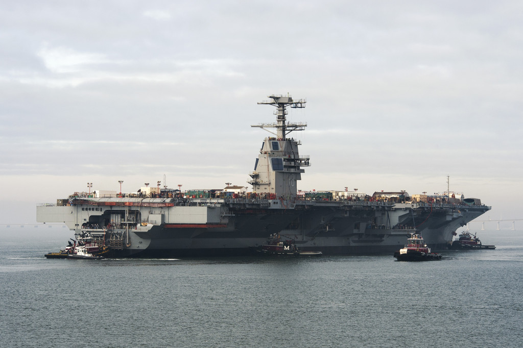 The aircraft carrier Gerald R. Ford (CVN-78) floats in the James River after being launched from dry dock at Newport News Shipbuilding, 11/17/2013