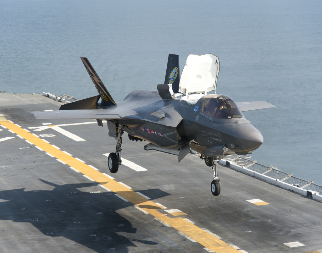 F-35B test aircraft BF-1 lands aboard the USS Wasp for the first time on Aug. 12, 2013. The landing marked the beginning of Developmental Test Phase Two for the F-35's short takeoff/vertical landing variant