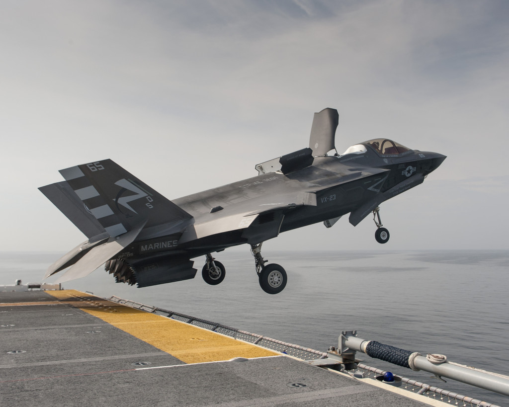 An F-35B test jet takes off from the USS Wasp on Aug. 21, 2013. The takeoff was part of Developmental Test Phase Two for the F-35 short takeoff/vertical landing variant