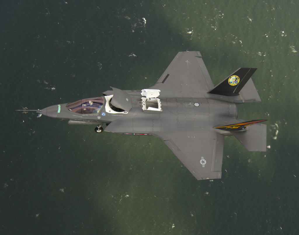 An F-35B test aircraft flies in short takeoff/vertical landing mode in November 2013