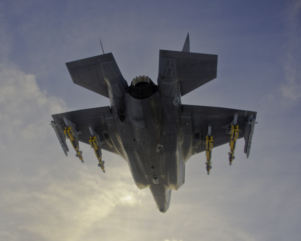 A US Marine Corps F-35B is shown here carrying two Asraam air-to-air missiles and four Paveway IV laser-guided bombs during initial weapon trials in the US