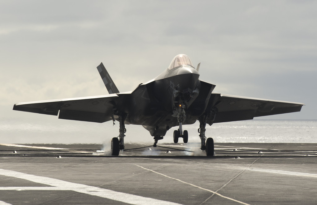 The F-35C completes catapults and arrestments aboard USS Nimitz on November 12, 2014.