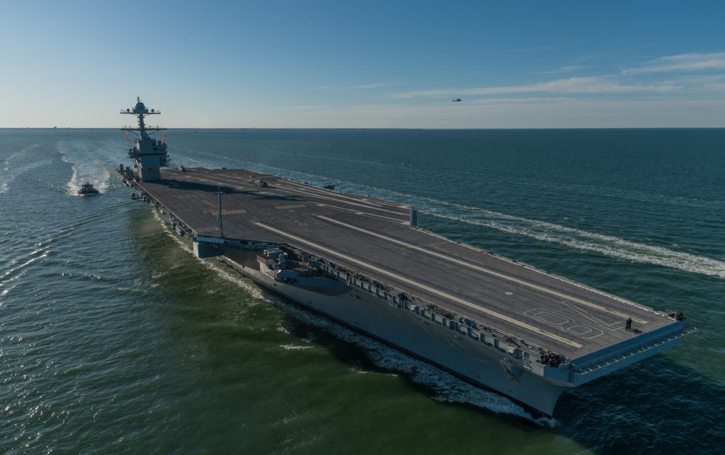 Huntington Ingalls Industries delivered the first-in-class aircraft carrier USS Gerald R. Ford (CVN-78) to the U.S. Navy on May 31, 2017 (Photo by Matt Hildreth/HII)