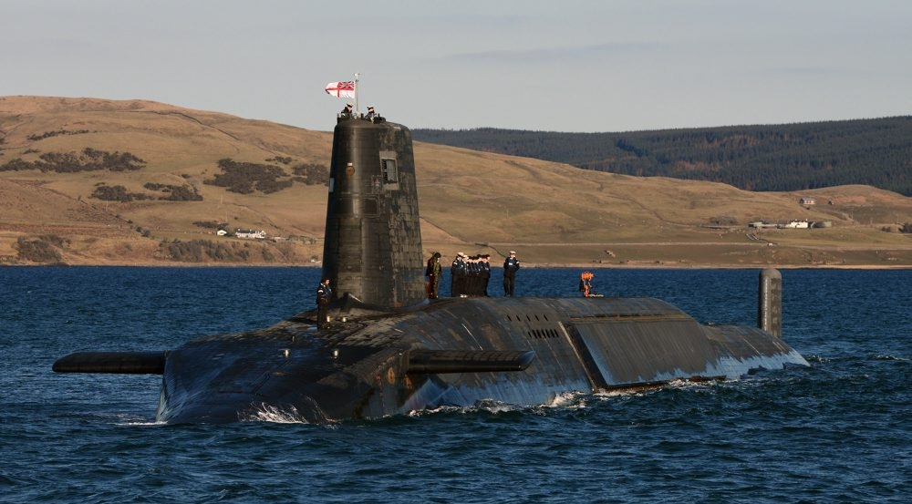 HMS Victorious is pictured near Faslane in Scotland