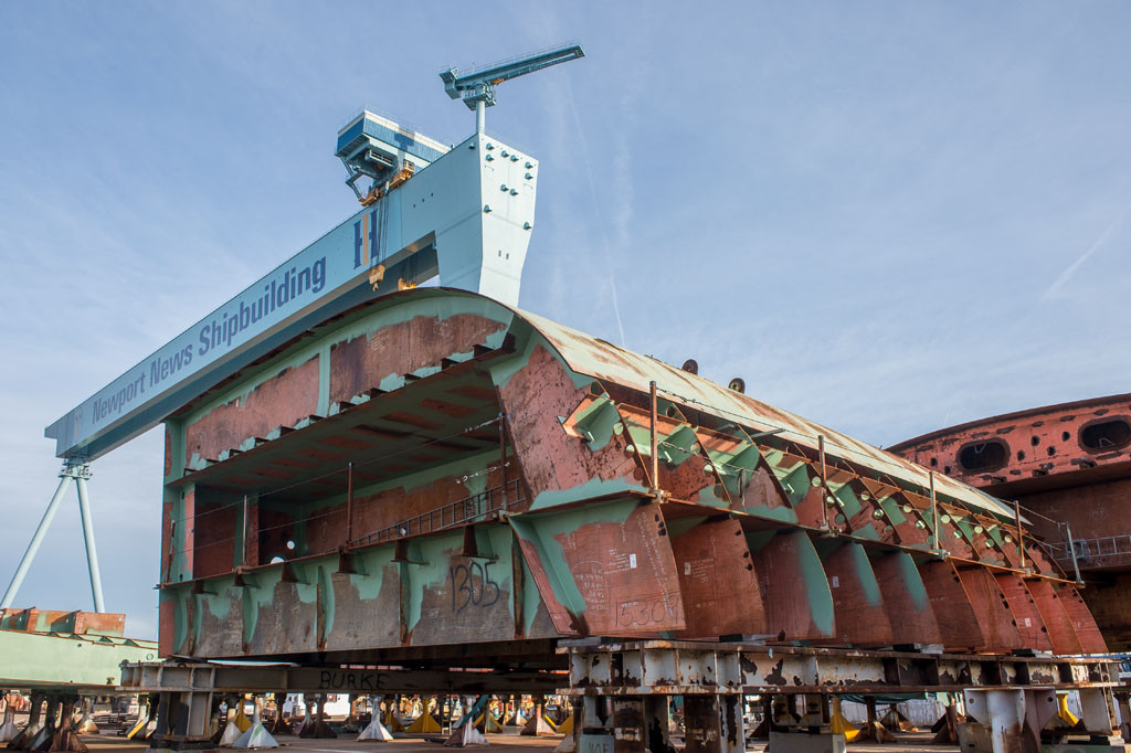 A unit for the aircraft carrier John F. Kennedy (CVN-79) rests on the assembly platen at Newport News Shipbuilding 11/25/2013