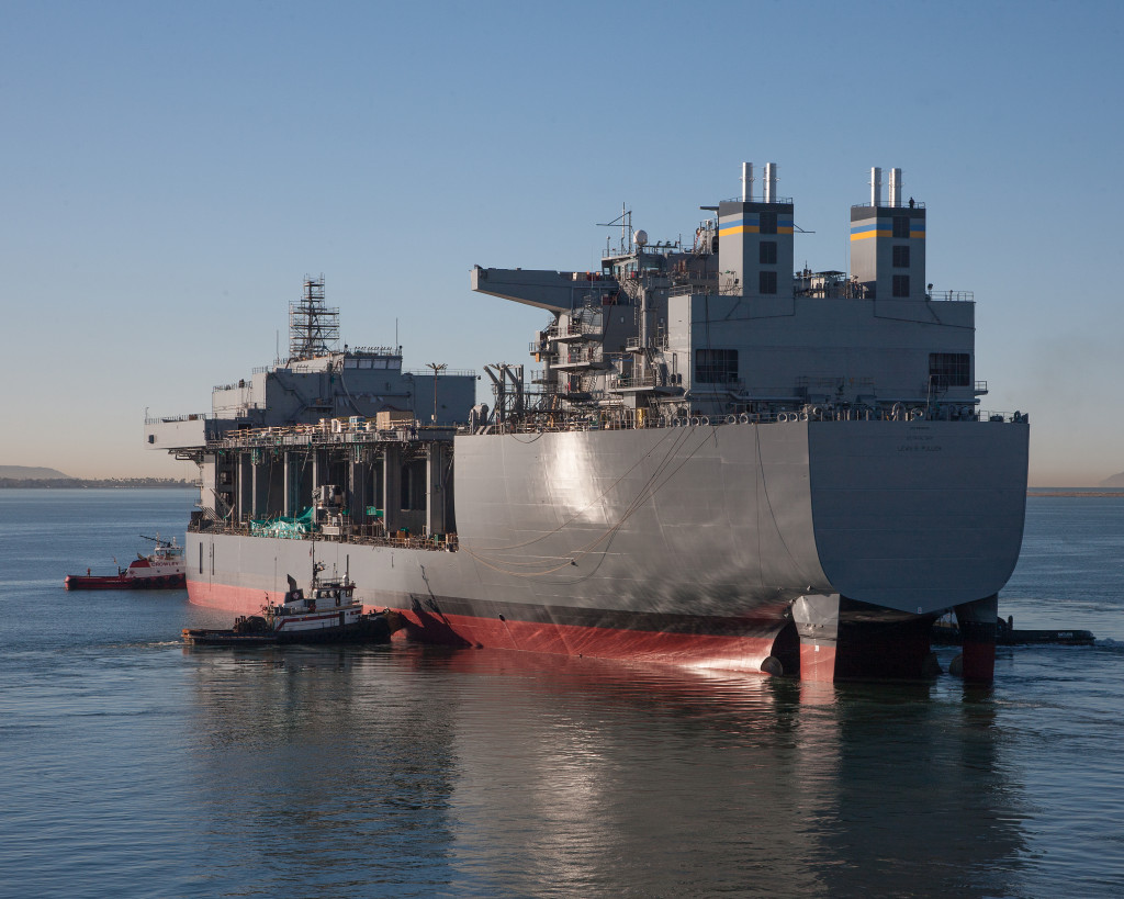 SAN DIEGO (Nov. 6, 2014) The mobile landing platform Lewis B. Puller (T-MLP-3/T-AFSB-1) successfully completed launch and float-off at the General Dynamics National Steel and Shipbuilding Co. (NASSCO) shipyard.
