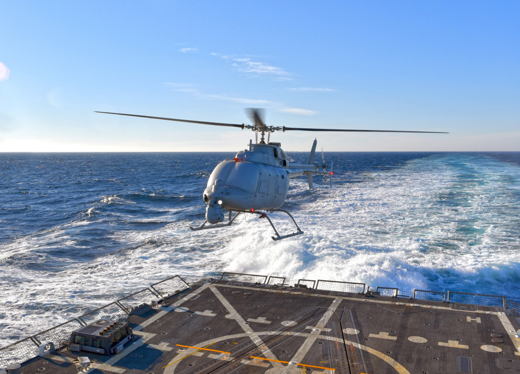 The MQ-8C Fire Scout prepares to land on the guided-missile destroyer, USS Jason Dunham (DDG 109), for the first time Dec. 16, off the Virginia coast. (Photo by Northrop Grumman)