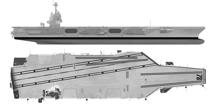 The carrier has a 5‐acre/20,234 m2 flight deck