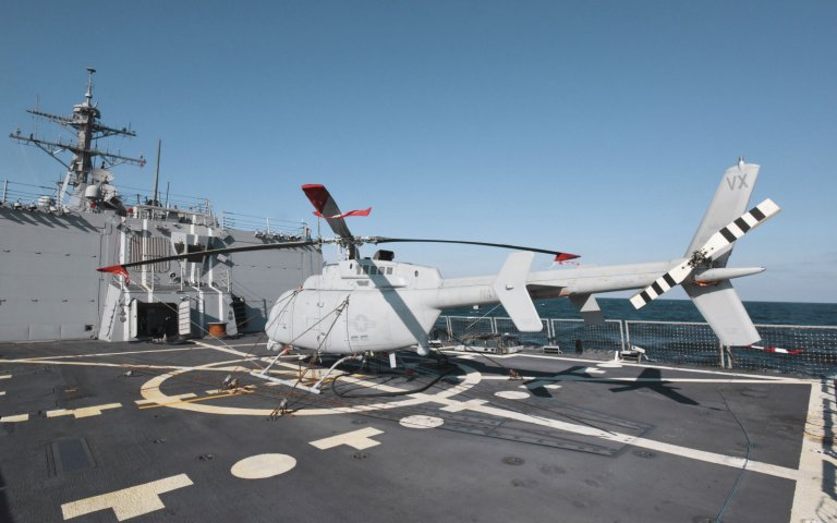 A Northrop Grumman MQ-8C has completed five days of dynamic interface tests on USS Jason Dunham. (Northrop Grumman)