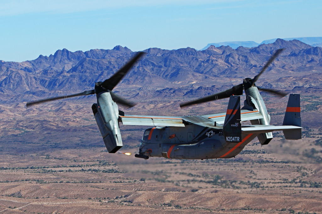 The V-22 can be armed with a variety of forward-facing munitions
