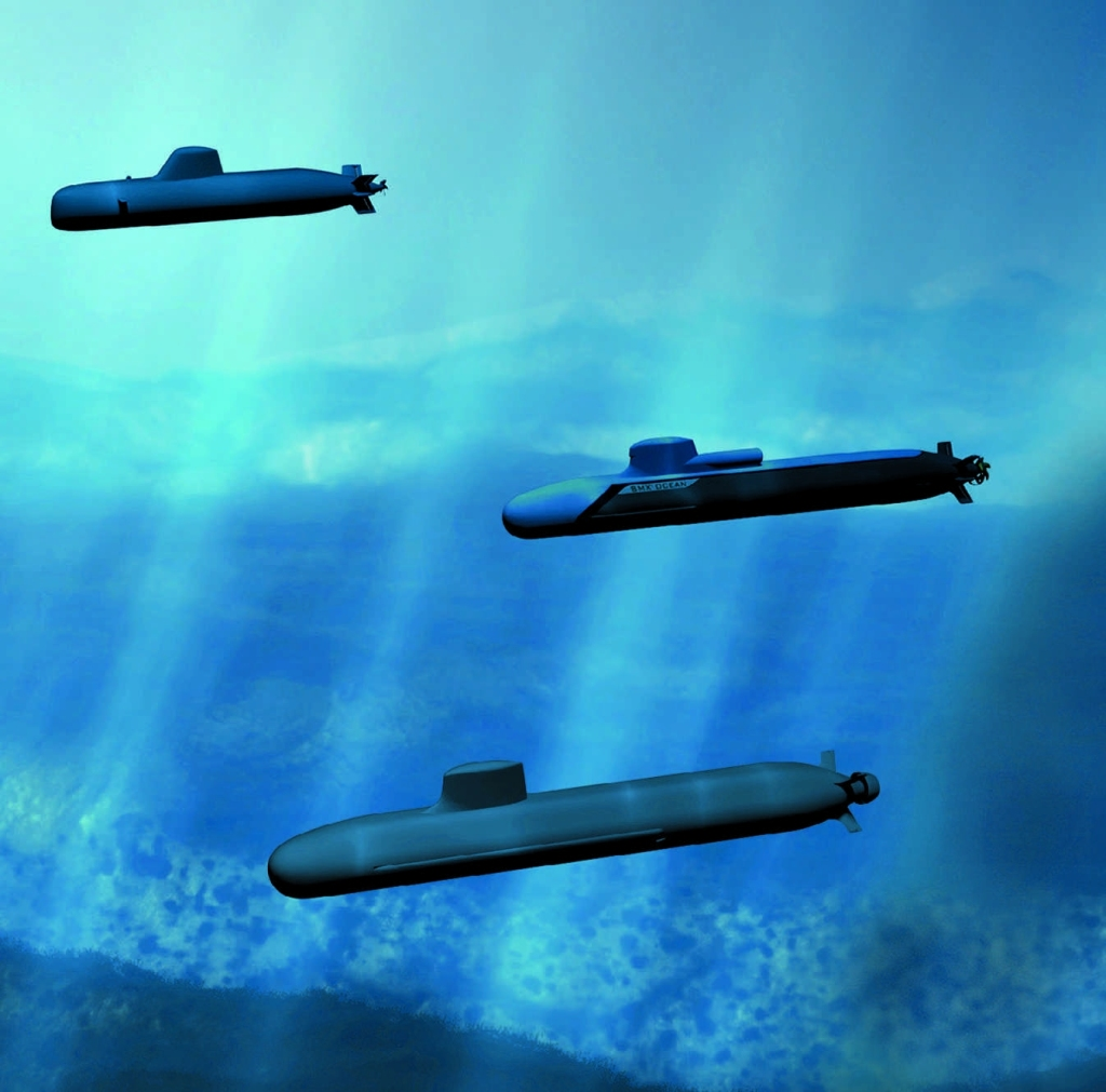 Scorpene SSK (above), SMX-Océan (center), Barracuda SSN (below)