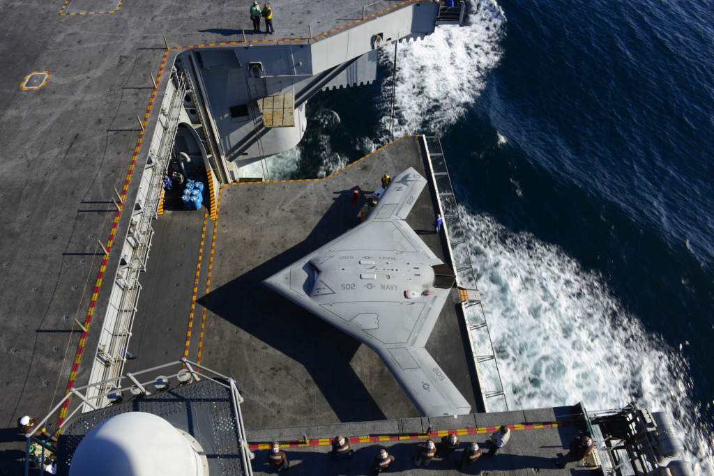 The UCAS-D team moved the X-47B UCAS by elevator from the hangar bay to the flight deck