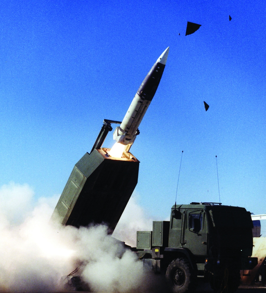 HIMARS carries a one ATACMS missile on the Army's Family of Medium Tactical Vehicles (FMTV) 5-ton truck