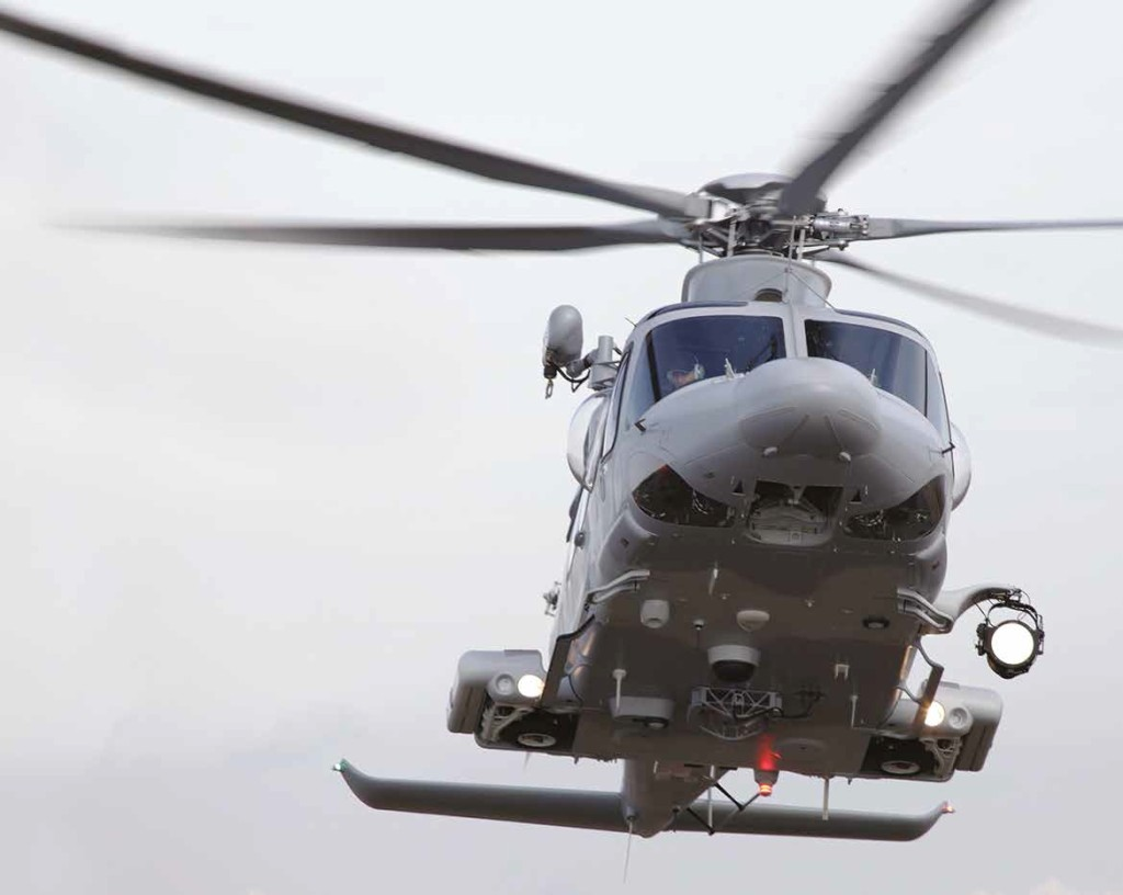 A Defensive Aid Suite (DAS), including Missile Launch Detection System (MLDS), Laser Warning Receiver (LWR) and Chaff and Flare Dispensing System, provides self-protection from missiles, while an IR suppression system reduces the already low thermal signature of the AW139