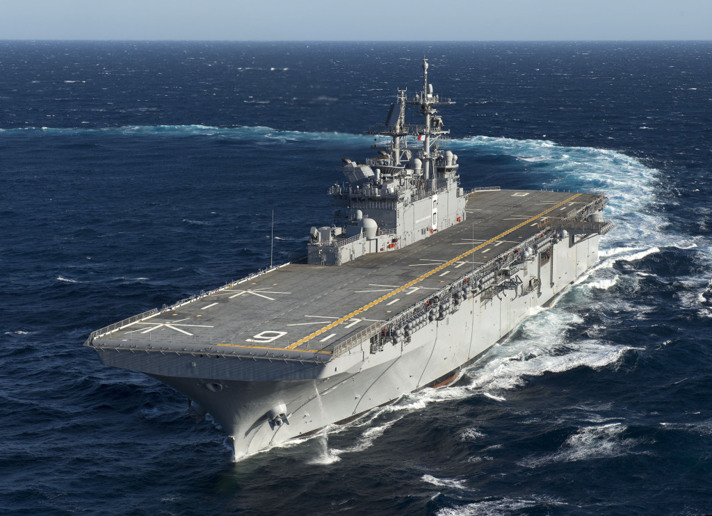 The amphibious assault ship America (LHA-6) returned to Ingalls Shipbuilding on Saturday, November 9, 2013, following successful builder's sea trials in the Gulf of Mexico (Photo by Steve Blount)