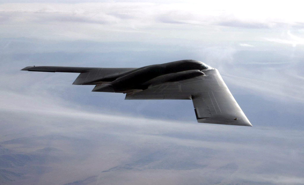 The B-2 flies over the Utah Testing and Training Range at Hill Air Force Base, Utah, during the test run September 10, in which the B-2 dropped 80 inert Joint Direct Attack Munitions  (Photo by Bobbie Garcia)