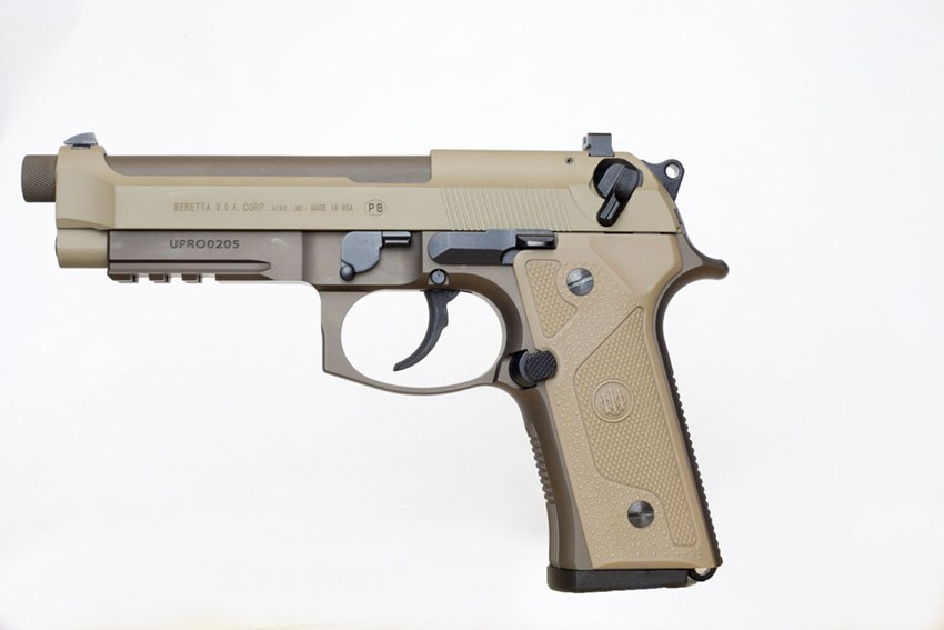 The M9 is a short recoil, semi-automatic, single-/double-action pistol