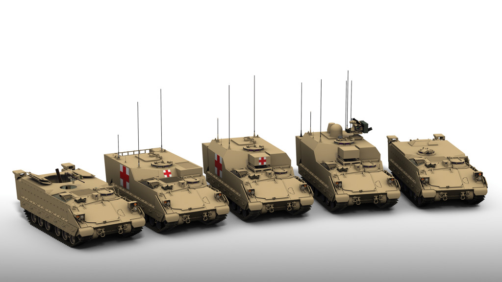 Family Of Vehicles (FOV): Bradley Mortar Vehicle (BMV); Armored Medical Evacuation Vehicle (AMEV); Armored Medical Treatment Vehicle (AMTV); Bradley Command Post (BCP); Bradley General Purpose Vehicle (BGPV)