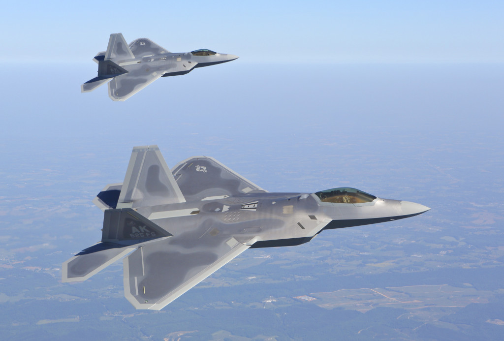 F-22 4195 and 4193 take their final company flight around the Metro Atlanta Area, passing down town Atlanta, Stone Mountain, Lake Lanier, and the Lockheed Martin Marietta plant