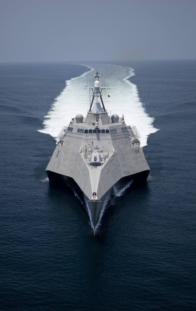 The Navy's first trimaran Littoral Combat Ship, the future USS Independence (LCS 2), during Builder's Sea Trials in the Gulf of Mexico July 2009
