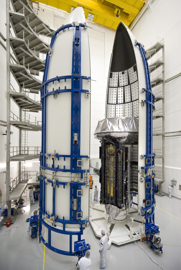 MUOS SV1 is encapsulated at the Astrotech facility in Titusville, Florida
