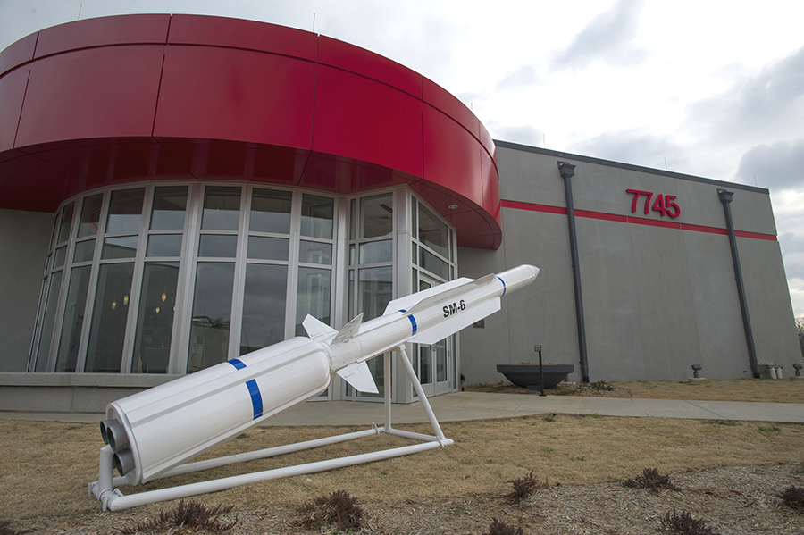 Model of the Standard Missile-6 outside the Raytheon factory that produces them in Huntsville, Alabama