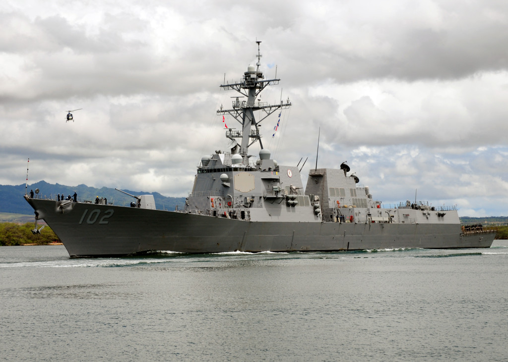The Arleigh Burk-class guided-missile destroyer USS Sampson (DDG-102) departs Joint Base Pearl Harbor-Hickam to support Rim of the Pacific (RIMPAC) 2010 exercises