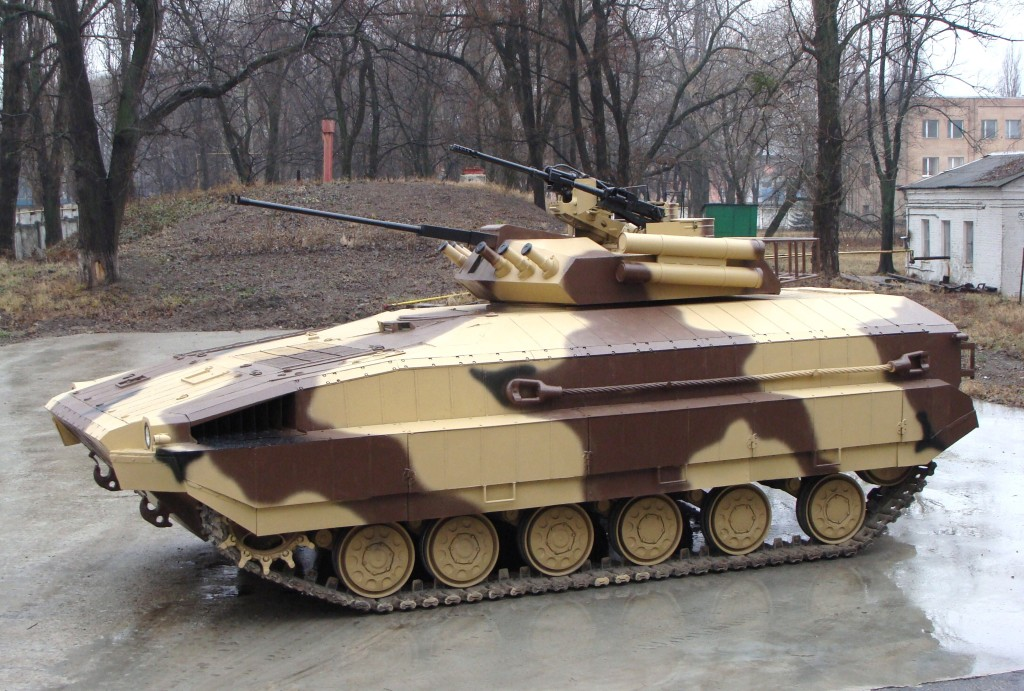 BMP-64 is designed and produced on the basis of T-64 Tank, has cannon proof armor and forward located engine transmission compartment, the bottom of which contains additional anti-mine protection
