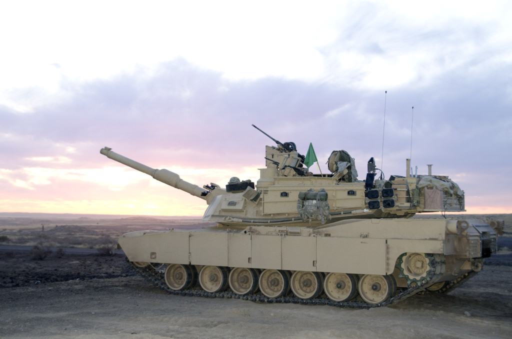 Abrams M1A2 System Enhanced Package (SEP) tank sits ready for its crew to begin night live-fire training
