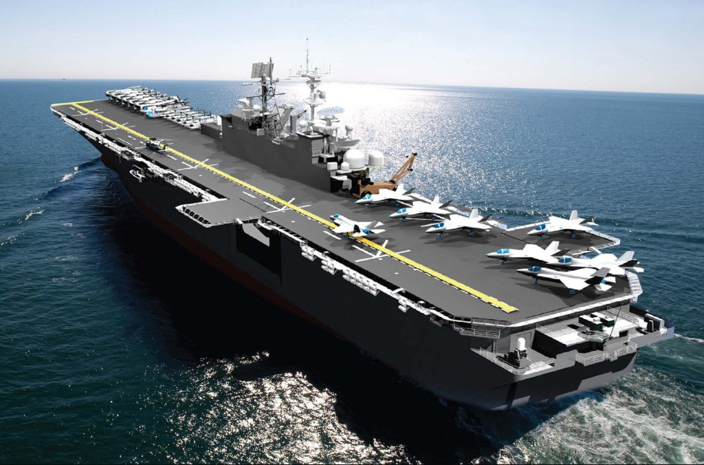 An artist's rendering of an America-class amphibious assault ship. Tripoli (LHA-7) will be 844 feet long and 106 feet wide and will displace 44,971 long tons