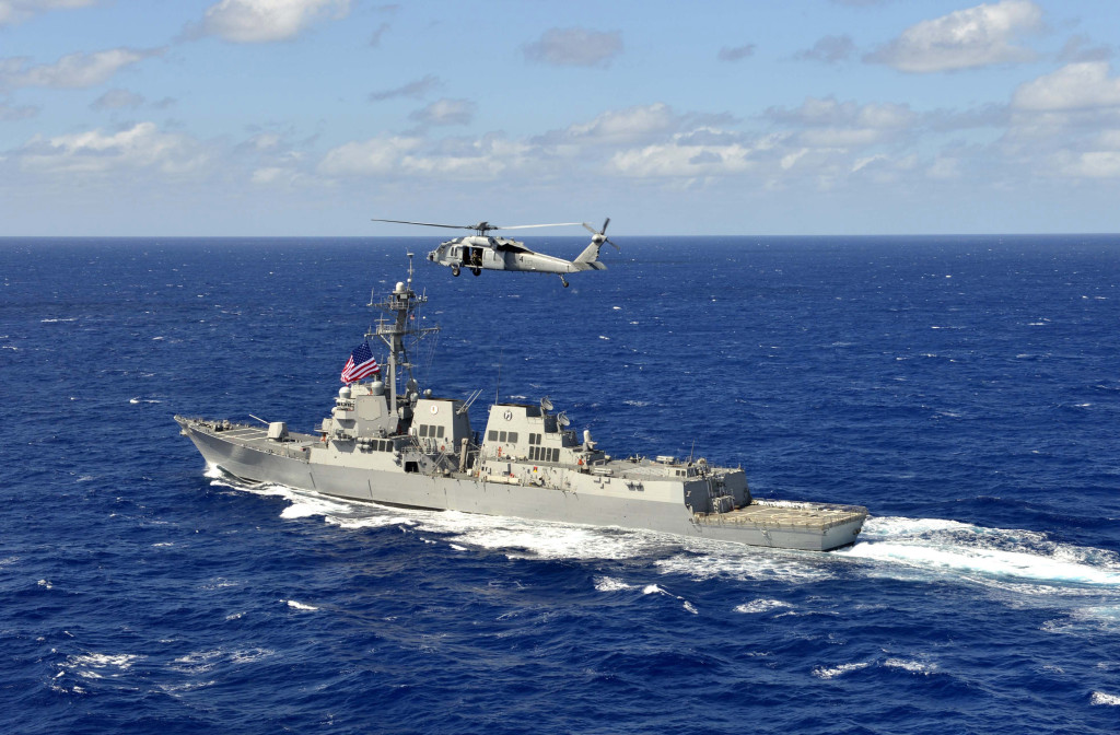 The Arleigh-Burke class guided-missile destroyer USS William P. Lawrence (DDG-110) transits the Pacific Ocean