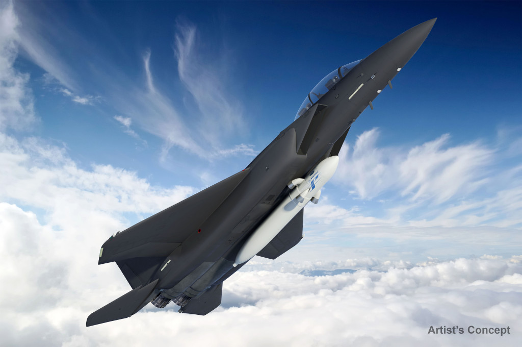 The ALASA launch vehicle would be attached under the Boeing F-15 military aircraft operating on a regular runway