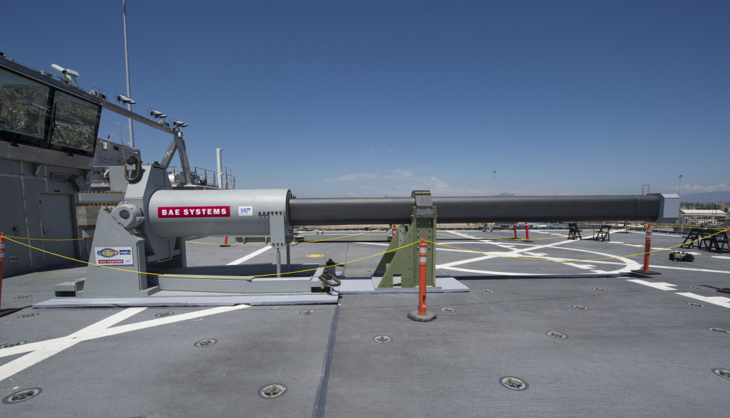 An electromagnetic railgun prototypes on display aboard the joint high speed vessel USS Millinocket (JHSV-3) in port at Naval Station San Diego, California (U.S. Navy Photo)