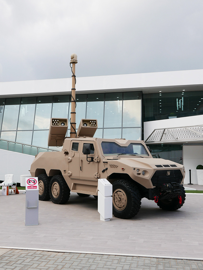 The UAE's Nimr Automotive, Tawazun and Raytheon disclosed a project to arm the 6 X 6 version of the Nimr vehicle with the Raytheon-Tawazun Talon 70-mm laser-guided rocket