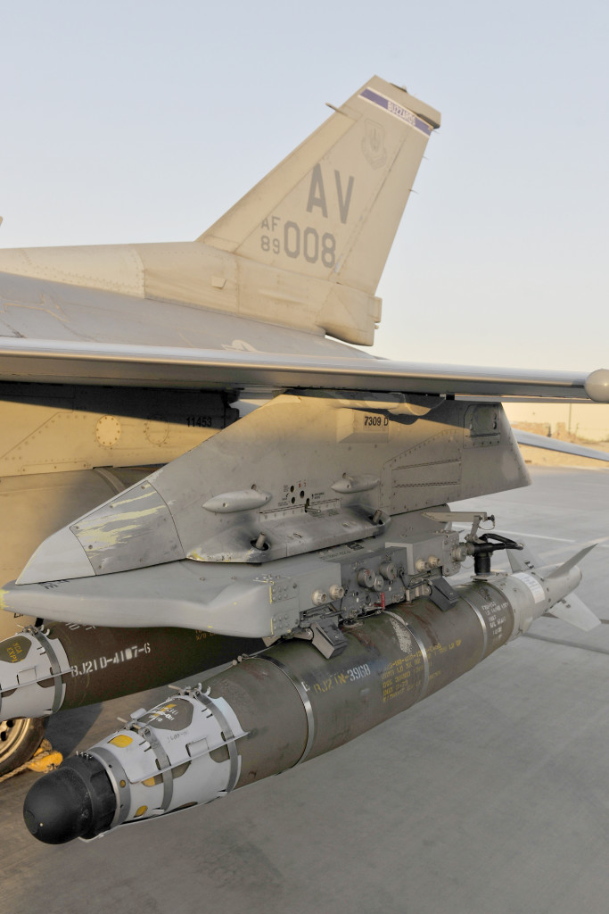 A guided bomb unit-54rests on the wing of a F-16 Fighting Falcon at Bagram Airfield, Afghanistan. The GBU-54 is the Air Force's newest 500-pound precision weapon, equipped with a special targeting system that uses a combination of Global Position System and laser guidance to accurately engage and destroy moving targets. (U.S. Air Force photo/Staff Sgt. Christopher Boitz)
