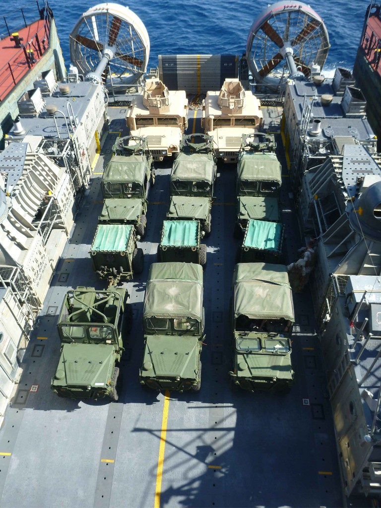 During retrograde operations, vehicles are transported onboard a LCAC, to be transferred from Montford Point onto Bob Hope. The vehicles include, 2 M88 Armored Recovery Vehicles (ARV), 3 Internally Transportable Vehicle-Light Strike Vehicles (ITV-LSV), 3 Internally Transportable Vehicle-Prime Movers with Ammo Trailer (ITV-PM/AT), and 3 Armored High Mobility Multipurpose Wheeled Vehicle (HMMWV) Expanded Capacity Vehicles (ECV)