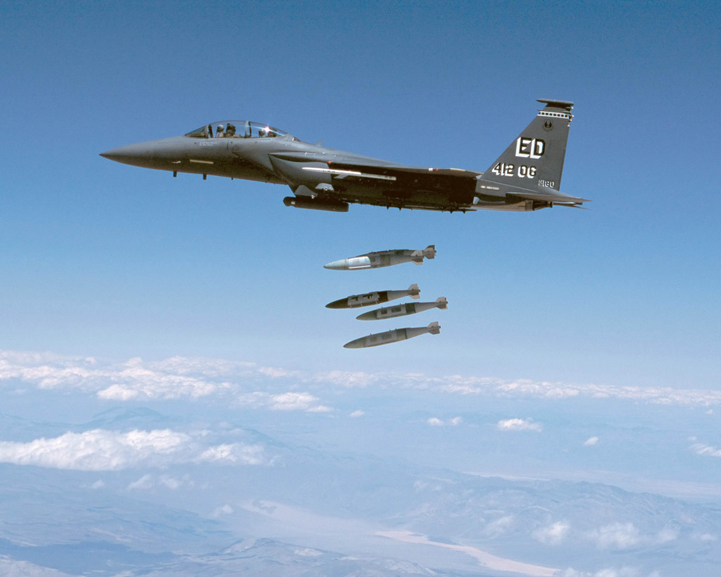 F-15E-1 firing 4 JDAM missiles, with Edwards AFB markings