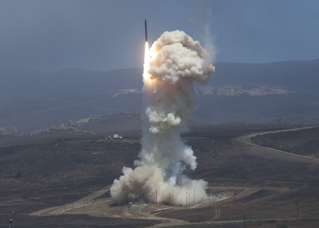 A Ground-based Interceptor roars into the sky carrying a Raytheon-built Exoatmospheric Kill Vehicle on June 22, 2014. The kill vehicle destroyed a simulated ballistic missile high over the Pacific Ocean (Missile Defense Agency photo)