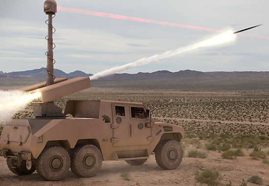 A Nimr armored vehicle fires a rocket equipped with the TALON guidance system in this artist's illustration