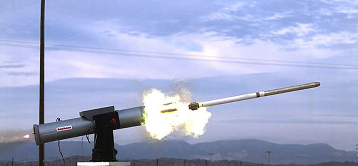 A launcher fires a rocket equipped with the TALON guidance system