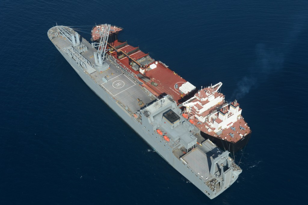 USNS Montford Point (MLP-1) and vehicle cargo ship USNS Bob Hope (T-AKR 300) are moored alongside of each other during vehicle transfer operations