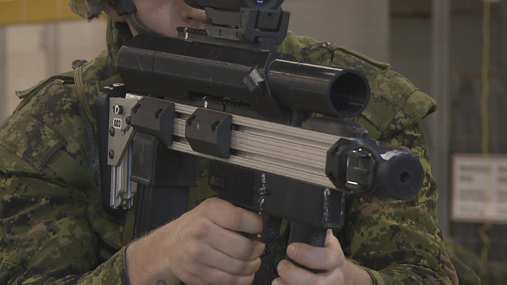 In order to support the multi-role nature of the weapon, the prototype's secondary effects module features the ability to install either a three round 40-mm grenade launcher, or a 12-gauge shotgun