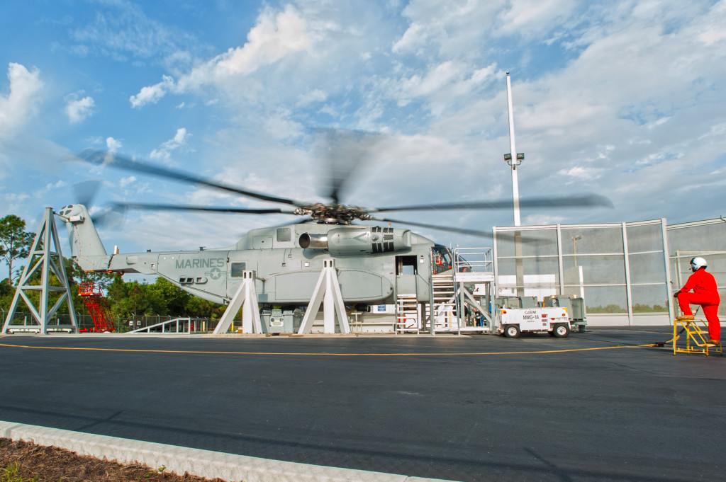 The NATO group was able to see the CH-53K Ground Test Vehicle (GTV), a prototype tethered to the ground